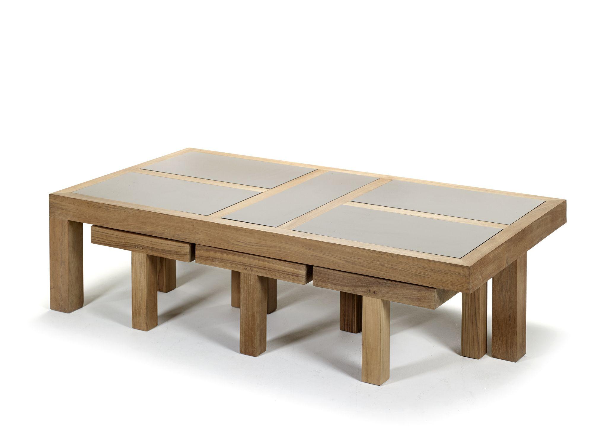 Tavolino basso da giardino rettangolare in ceramica collezione