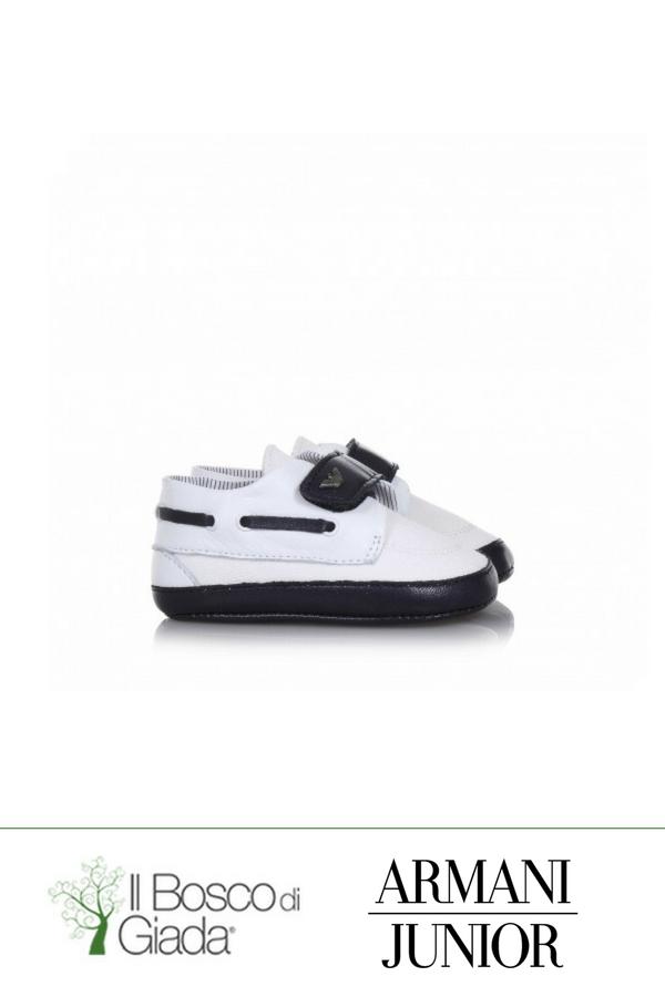 Culla bianco blu Armani - Scarpa da culla bianca e blu in tessuto e pelle 45bac43c532