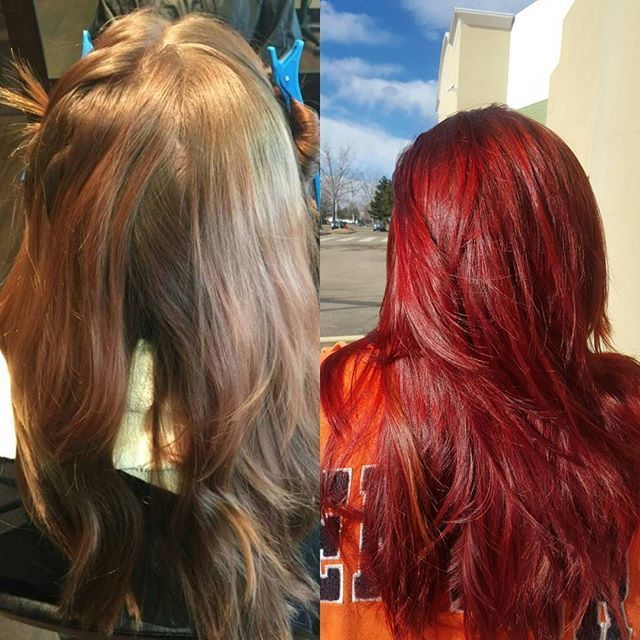 Red hot before and after balayage hair color from beauty school.