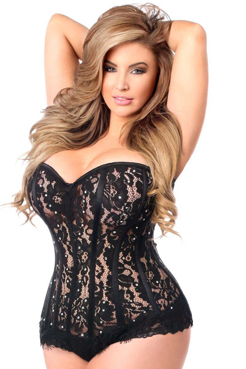 e28b1f88ca Top Drawer Daisy Corsets Black Lace Steel Boned Corset With Rhinestones ALL  sizes from small to plus