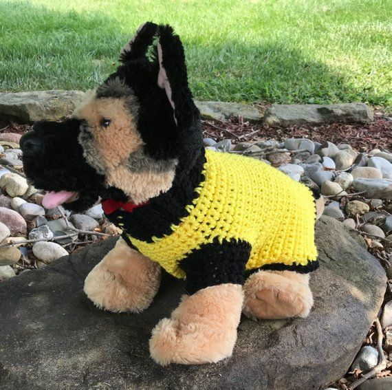 Yellow and Black Small Dog Crochet Sweater #dogcrochetedsweaters Yellow and Black Small Dog Crochet Sweater #dogcrochetedsweaters