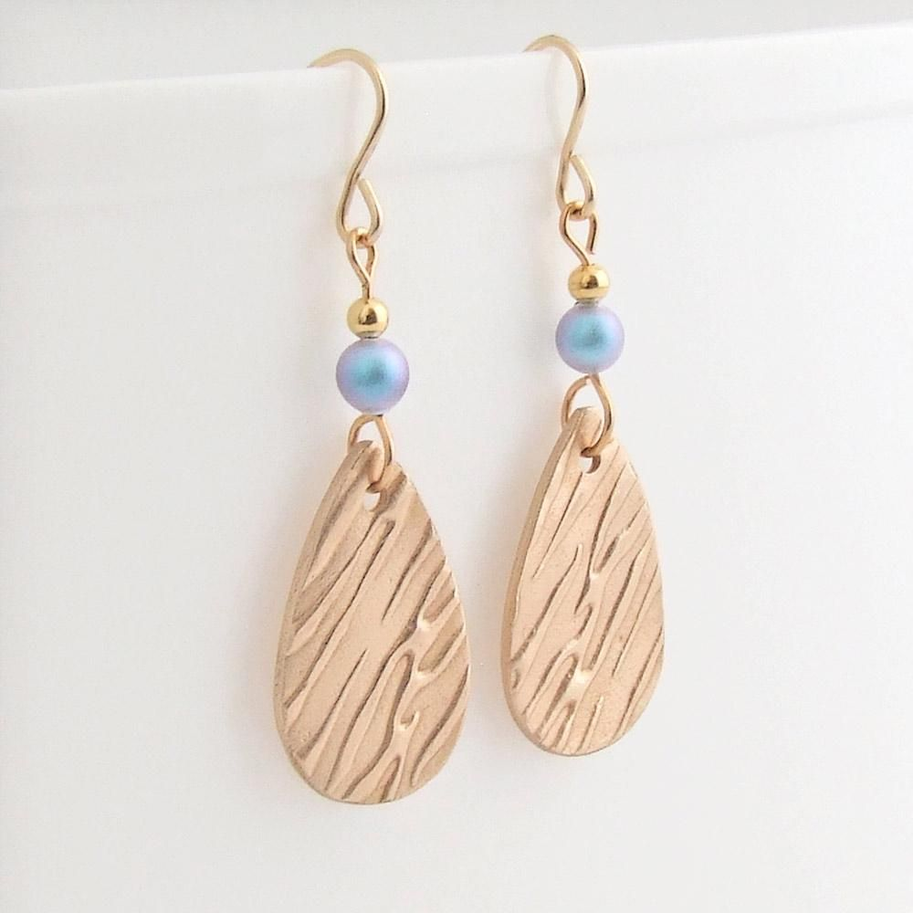 Bronze and Blue Swarovski Pearl Drop Earrings (With images