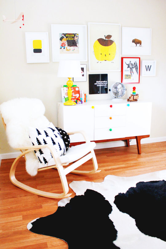 @westelm's Dumont Buffet, customized with colorful painted knobs in Wyatt's nursery   Apartment Therapy