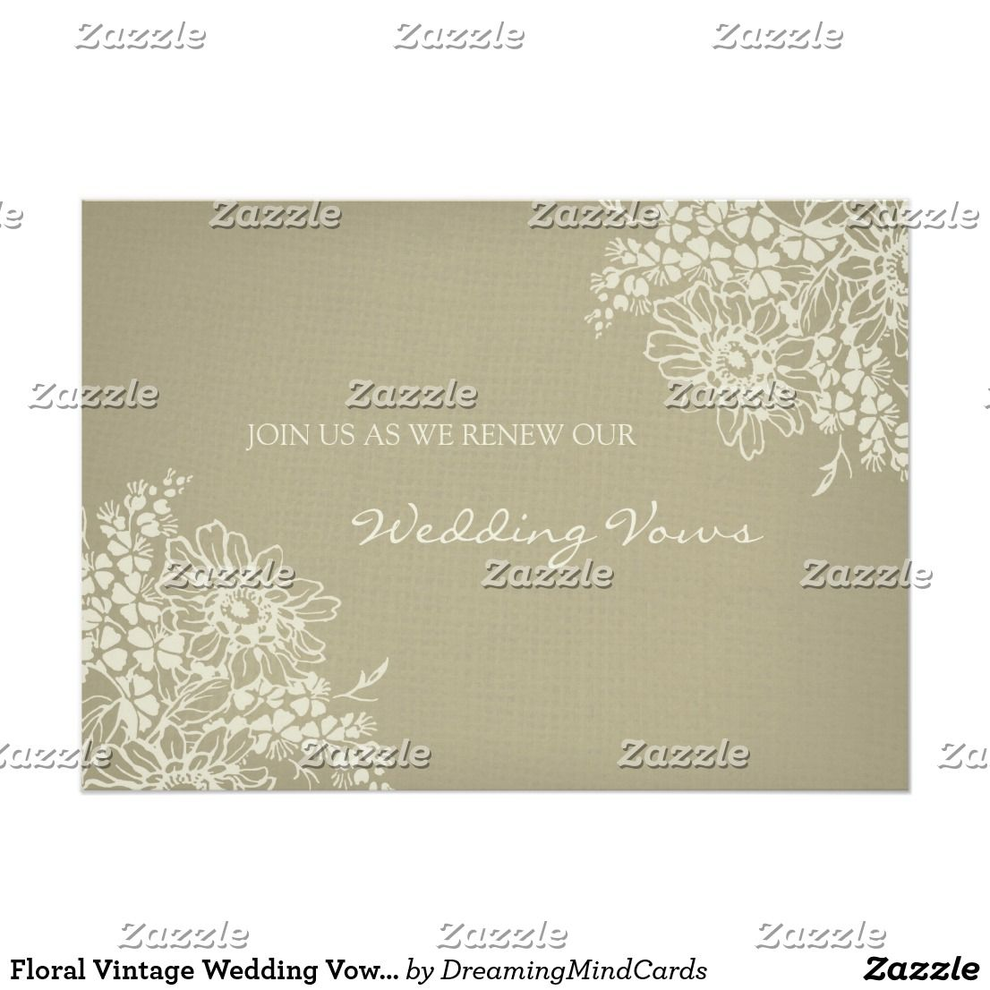 Floral Vintage Wedding Vow Renewal Invitation | Country Wedding ...