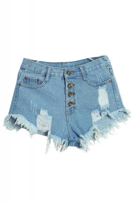 Tassel Hem Holed High Waist Denim Shorts