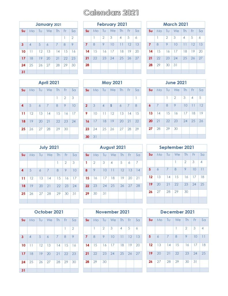 Printable Calendar 2021 One Page In 2020 Printable Calendar Calendar Yearly Calendar