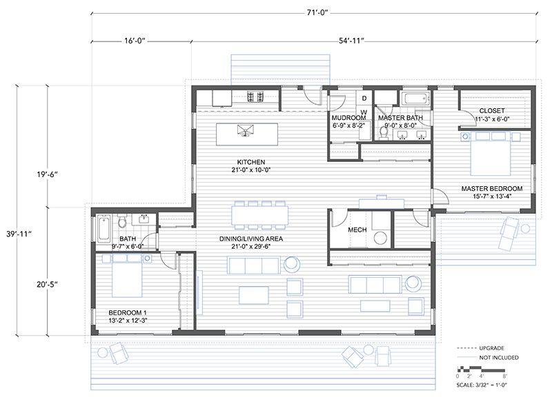 Blu Homes Balance Floorplan 2 Bedroom House Types
