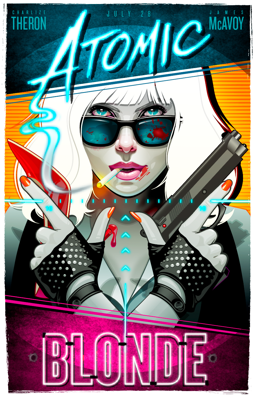 atomic blonde poster on behance artistic movie posters
