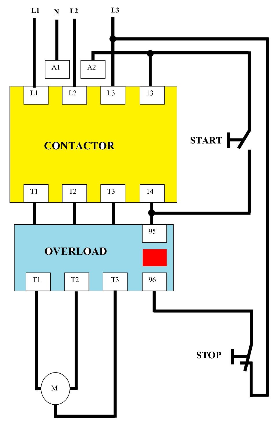 small resolution of direct on line dol wiring diagram for 3 phase with 110 230vac control circuit