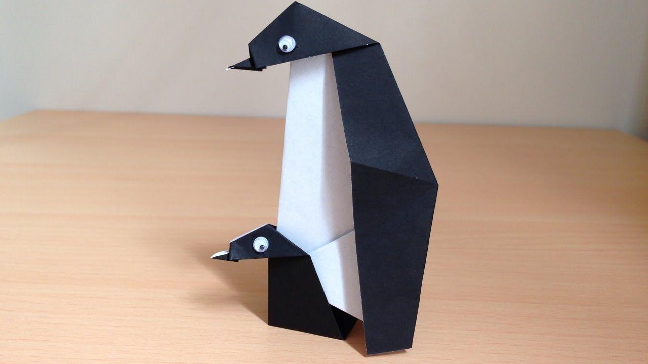 折り紙ペンギン親子 簡単な折り方 Origami Mother and child penguin ...