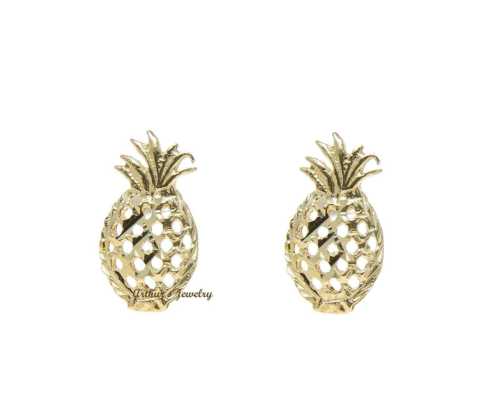 Solid 14k Yellow Gold Hawaiian Diamond Cut Pineapple Stud Earrings Small  55mm