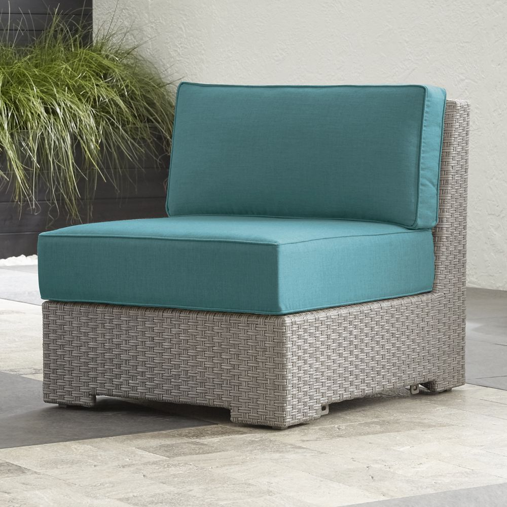 Ventura quartz modular armless chair with sunbrella cushions crate and barrel