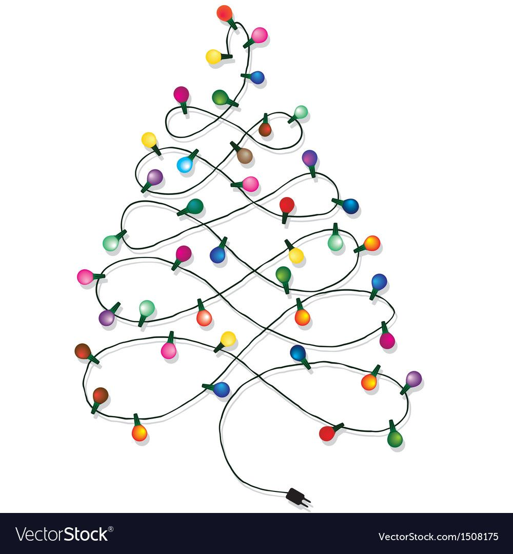 Christmas Tree Garland Vector Image On Christmas Tree Drawing Christmas Lights Drawing Christmas Lights Clipart