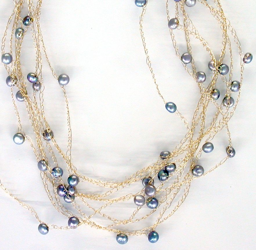 Cloud Necklace with Grey Pearls | Collares tejidos | Pinterest ...