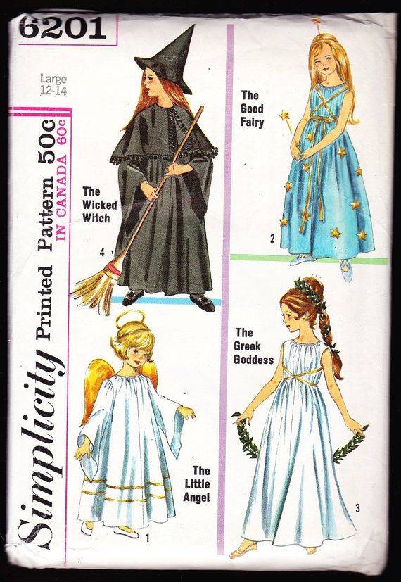 Simplicity 6201 Size Large,Girls\' Angel,Fairy,Witch,Greek Goddess ...