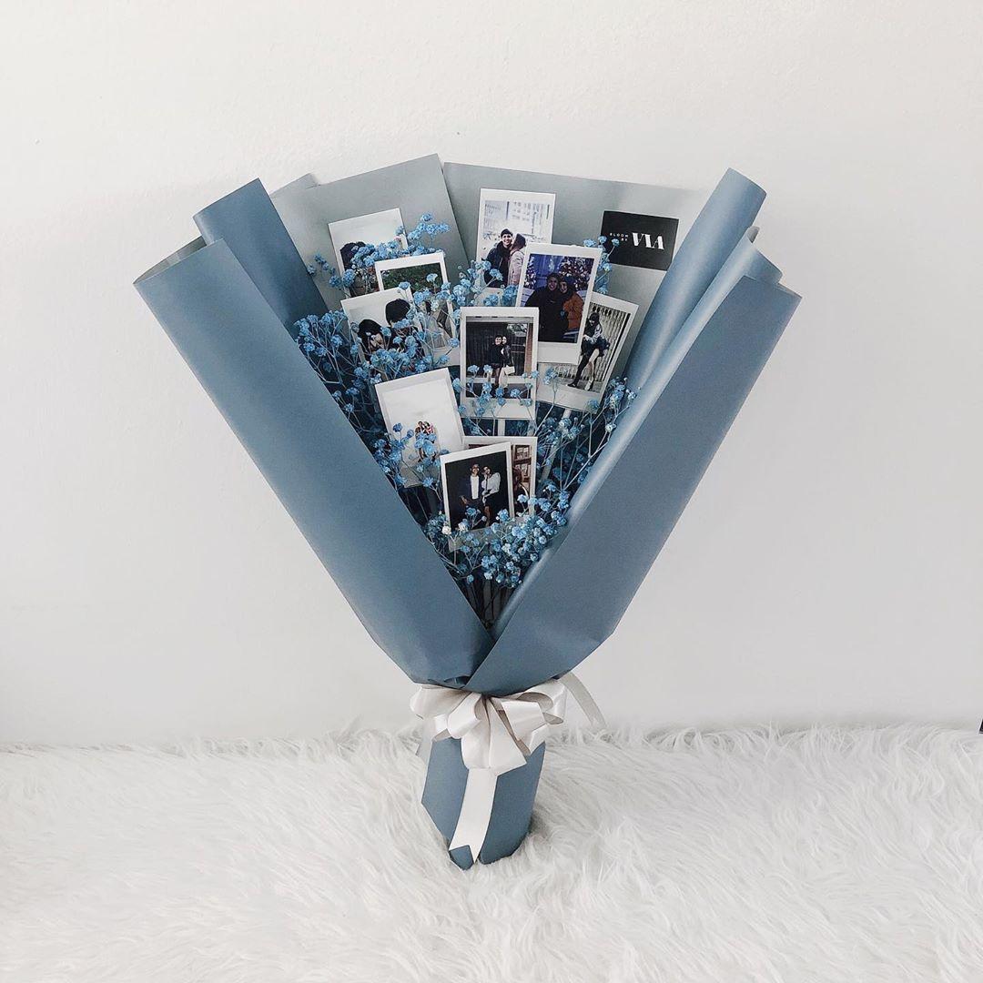 作り方動画あり お花と一緒に写真を束ねる ポラロイドブーケ が可愛