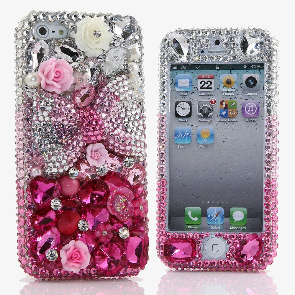 clear and pink bow design (style 366) bling, phone and design case
