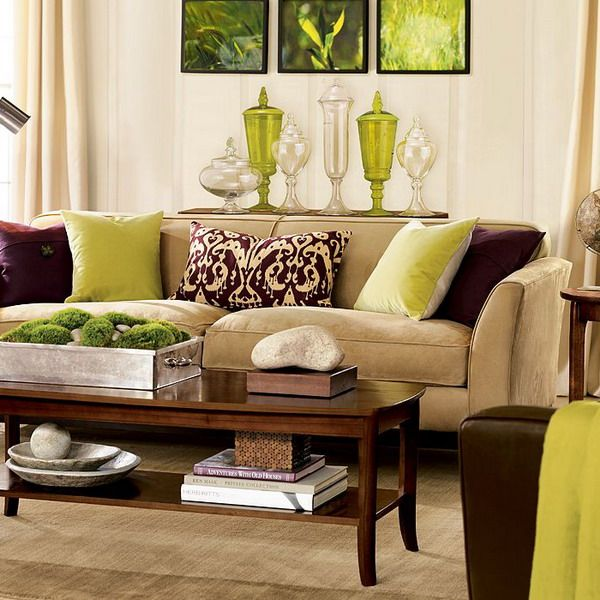 Lime green and brown decor ideas for the living room for Earthy apartment decor