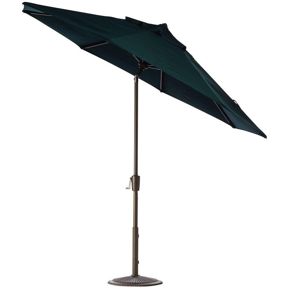 Home Decorators Collection 6 Ft. Aluminum Auto Tilt Patio Umbrella In  Sunbrella Forest Green With