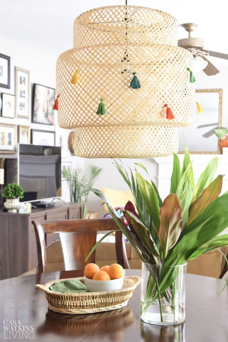 diy ikea lamp makeover ideas with tassel