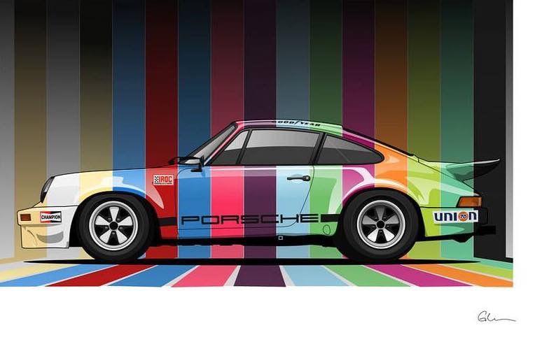 Iroc Porsche Colors By Glen Cordle A Mechanical Designer By Trade Illustrator By Hobby Voiture Vintage Porsche 911 Voitures Bizarres