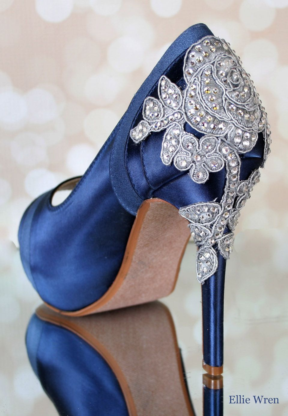 17f0543bf57f Make your wedding dress jealous with these stunning navy blue crystal heel wedding  shoes