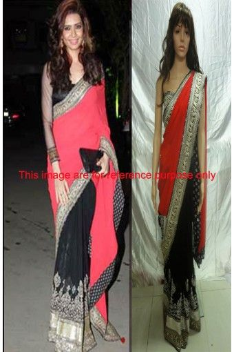 Classic Georgette Black and Red Bollywood Saree - STLY1362S at Stylelly