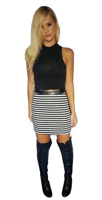 85% Cotton | Bodycon Pencil Skirt | Vegan Leather Panels | Black and White Stripes