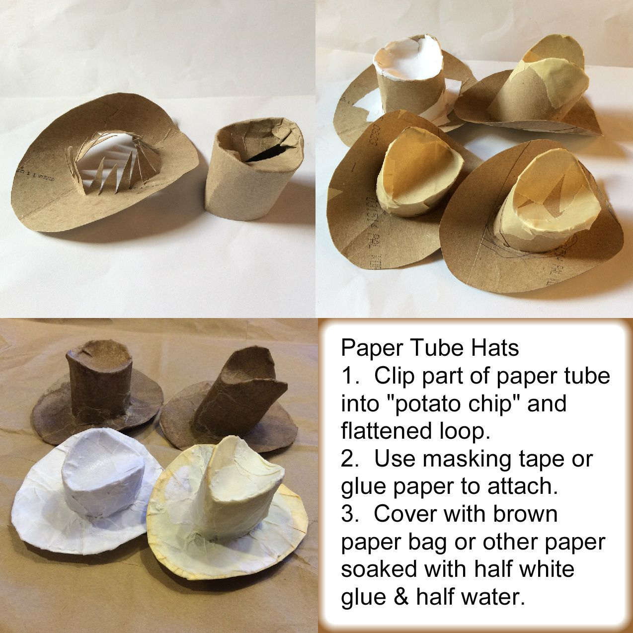 Decided to try the toilet-paper-tube cowboy hats we found on the internet.  Experimented with the brown-paper-bag faux leather rather than paint.  Time-consuming but engaging.
