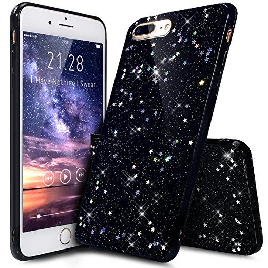 coque iphone 7 plus paillette noir