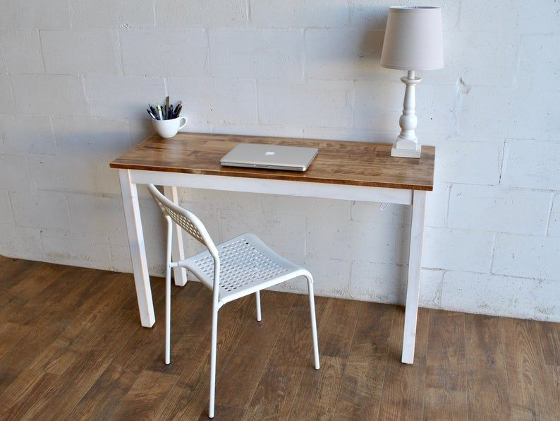 Solid Wood Desk Or Table Laptop Desk Small Desk In 2020 Small Wood Desk Small Wooden Desk Solid Wood Desk