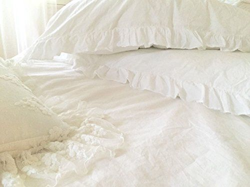 Shabby Chic Ruffled Duvet Comforter Quilt Cover 3pc Set King 100 Cotton French Style Frilled