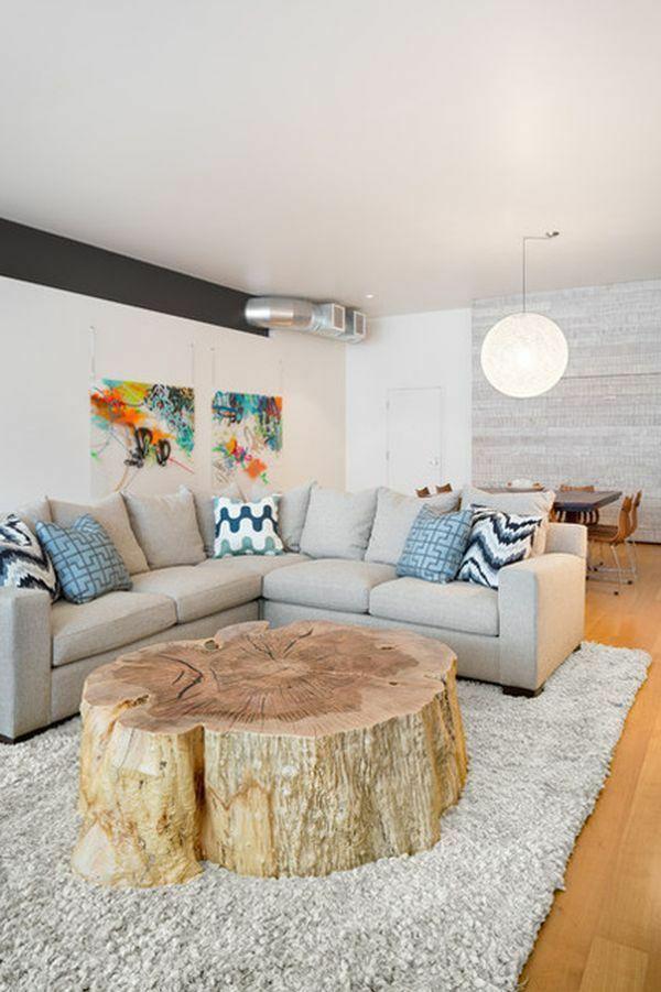Wohnzimmertisch aus Holz selber bauen  tolle DIY Ideen zum Nachmachen  bauen  Baumstamm tisch