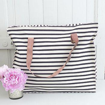 Black Stripe Canvas Storage Bag