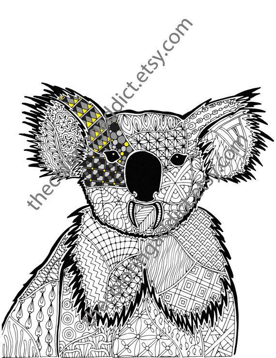Koala Coloring Sheet Animal Coloring Pdf Zentangle Colouring Page Zentangle Animal Pdf Intricate Design Sk Animal Coloring Pages Dog Coloring Page Animals