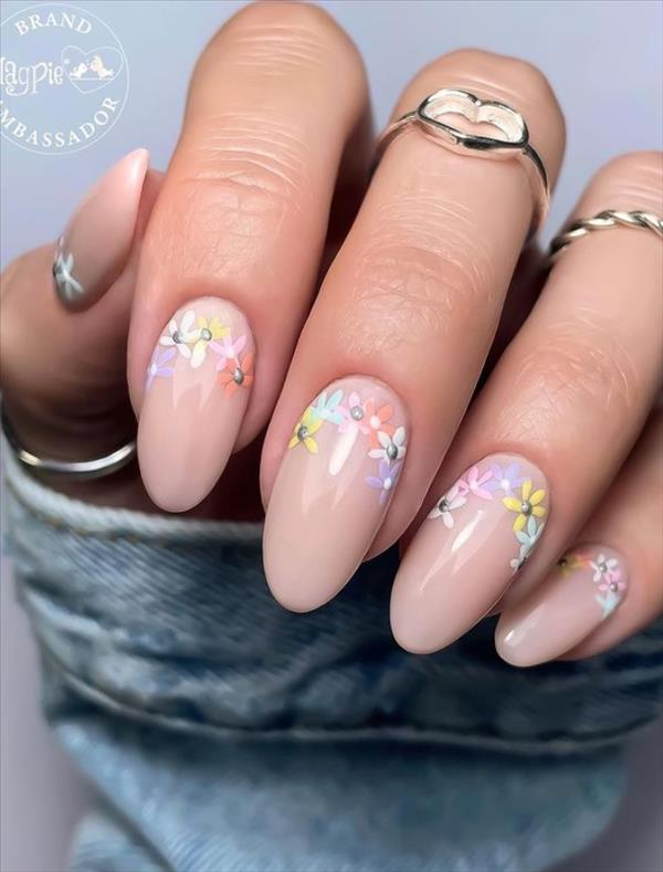 Beautiful Flower Nails Design With Short Almond Nail Shape You Can Try 2021 Latest Fashion Trends For Girls In 2021 Spring Nails Flower Nails Flower Nail Designs
