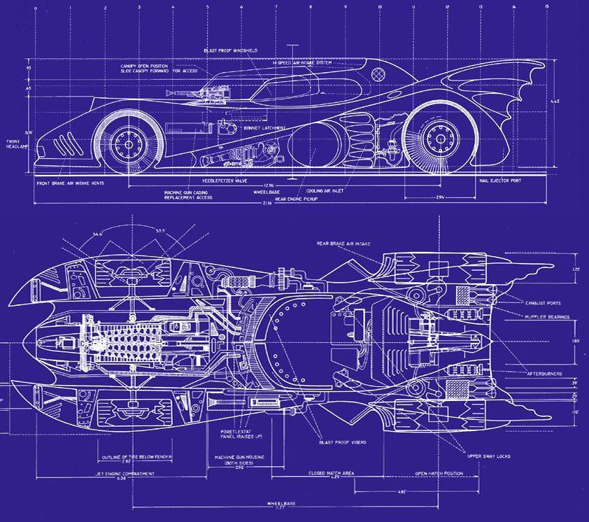 wwwracelinecentral Batmobile NewBatmobile - new old blueprint art