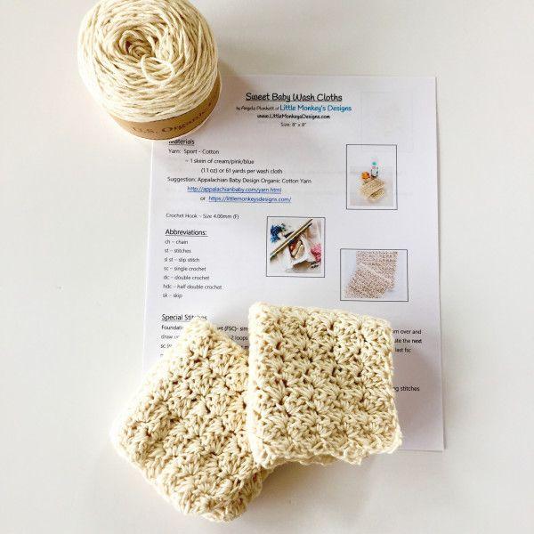 Sweet Baby Wash Cloths Crochet Kit