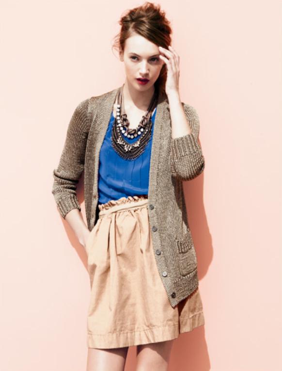Great color combo: grayish brown + cobalt + nude #mona_johannesson #j_crew