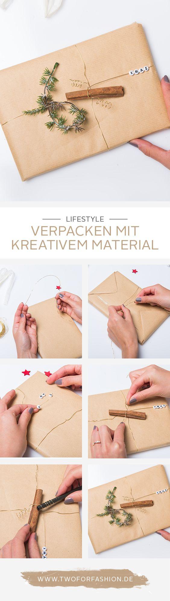 #geschenkverpackung #verpackung #giftwrapping #weihnachten #geschenkidee Geschenke kreativ einzupacken ist nicht aufwendiger als die herkömmliche Variante. Mit ein paar Accessoires wie einer Zimtstange, einem Tannenzweig oder Buchstabenperlen wird das schlichte Geschenk schnell zu einem weihnachtlichen Hingucker.
