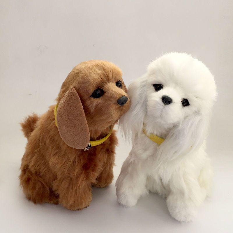 Simulación Robot Perro Ladrando y Menear la cola Animal Mascota Electrónica Juguetes de peluche juguetes de Sonido Gato regalo de año Nuevo para el bebé
