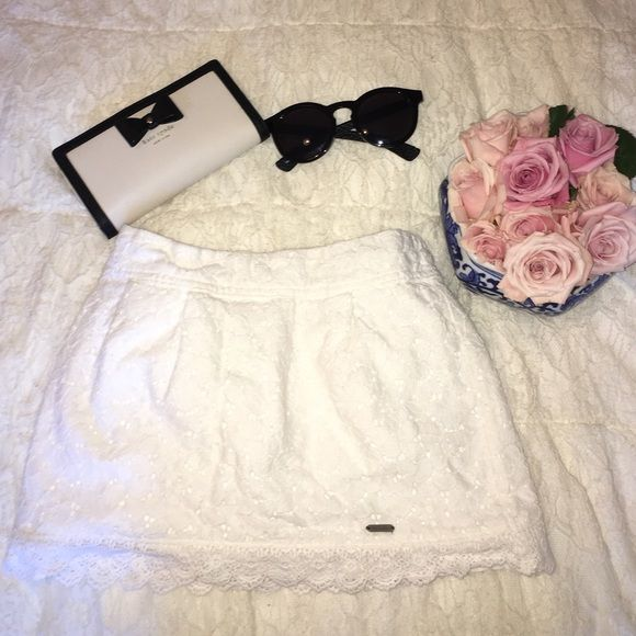 Abercrombie & Fitch White Lace Mini Skirt!! Brand new, super cute & short!! white, lacey, with the metal Abercrombie tag in the front!! KIDS size small :)  Abercrombie & Fitch Skirts Mini