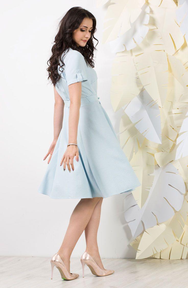 Rozkloszowana Blekitna Sukienka Pastel Blue Flared Dress High Waisted Skirt Fashion High Waisted