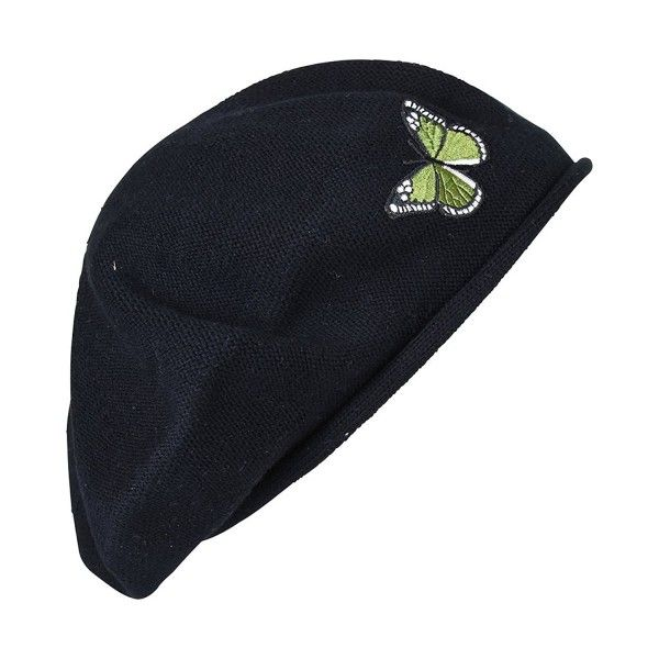 7996ab30c2613 Green Butterfly On Beret For Women 100% Cotton - Black - C812JTNURNP ...