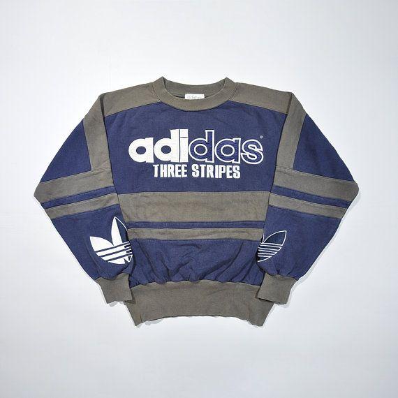 dc0ab16b Rare Vintage 80s 90s ADIDAS Pullover / ADIDAS Big Logo / Retro Adidas  Sweater / Trefoil ADIDAS Jumper Multi Color Block Cewneck Sweatshirt