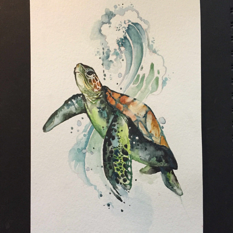 Watercolor Sea Turtle Turtle Art Turtle Watercolor Turtle Painting