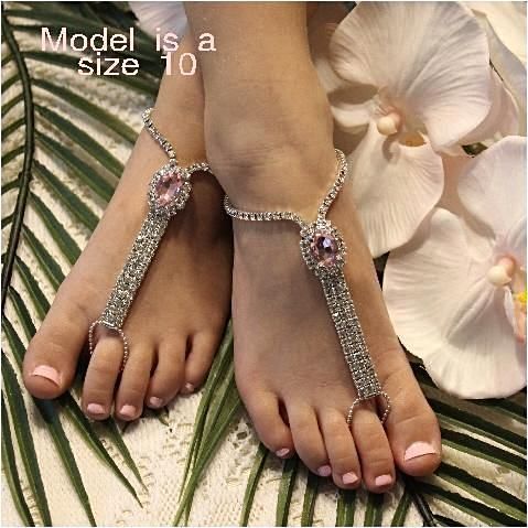 c0030c6ae0a6a7 FLOWER GIRL rhinestone barefoot sandals - pink in 2018