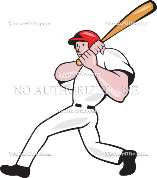 American Artwork Baseball Bat Batter Batting Cartoon Graphics Hitter Illustration Isolated Male Man Player Retro Illustration Retro Illustration