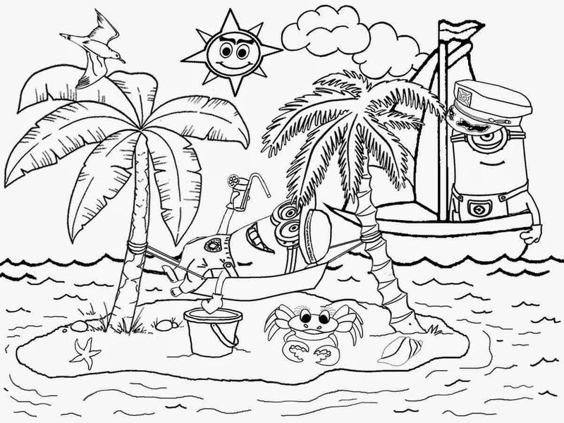 Free Printable Beach Coloring Pages In 2020 Minion Coloring