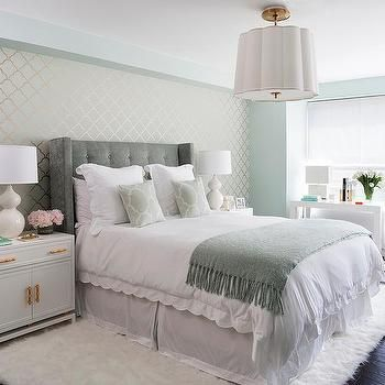 Green and Gray Bedrooms, Transitional, Bedroom | Designing ...